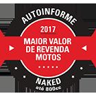 Maior Valor de Revenda 2017 - Naked até 800cc - CB 650F